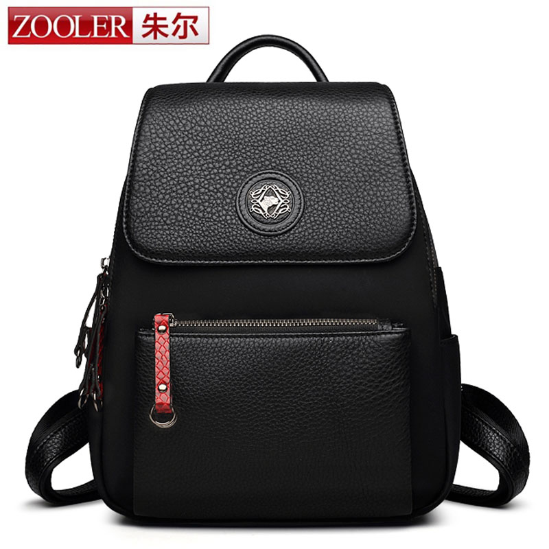 ZOOLER Backpack Natural Real Leather Backpacks Genuine Cow Leather & Nylon Women School Bags Girls Hot Cowhide Travel Backpack zooler genuine leather backpacks 2016 new real leather backpack for men famous brand china hot large capacity hot 65055