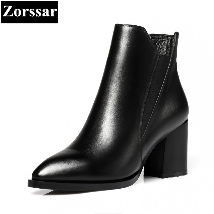 {Zorssar} 2017 Winter Ladies shoes Fashion zipper pointed toe high heels ankle Riding boots comfort thick heel women Short boots zorssar brands 2018 new arrival fashion women shoes thick heel zipper ankle chelsea boots square toe high heels womens boots