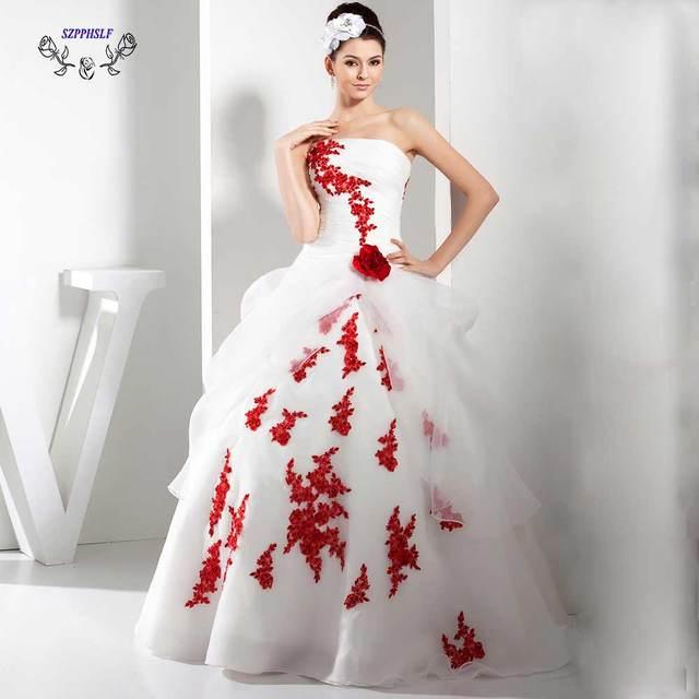 Estremamente Adorabile abito di sfera bianco e rosso Vestito Da Cerimonia  BN27