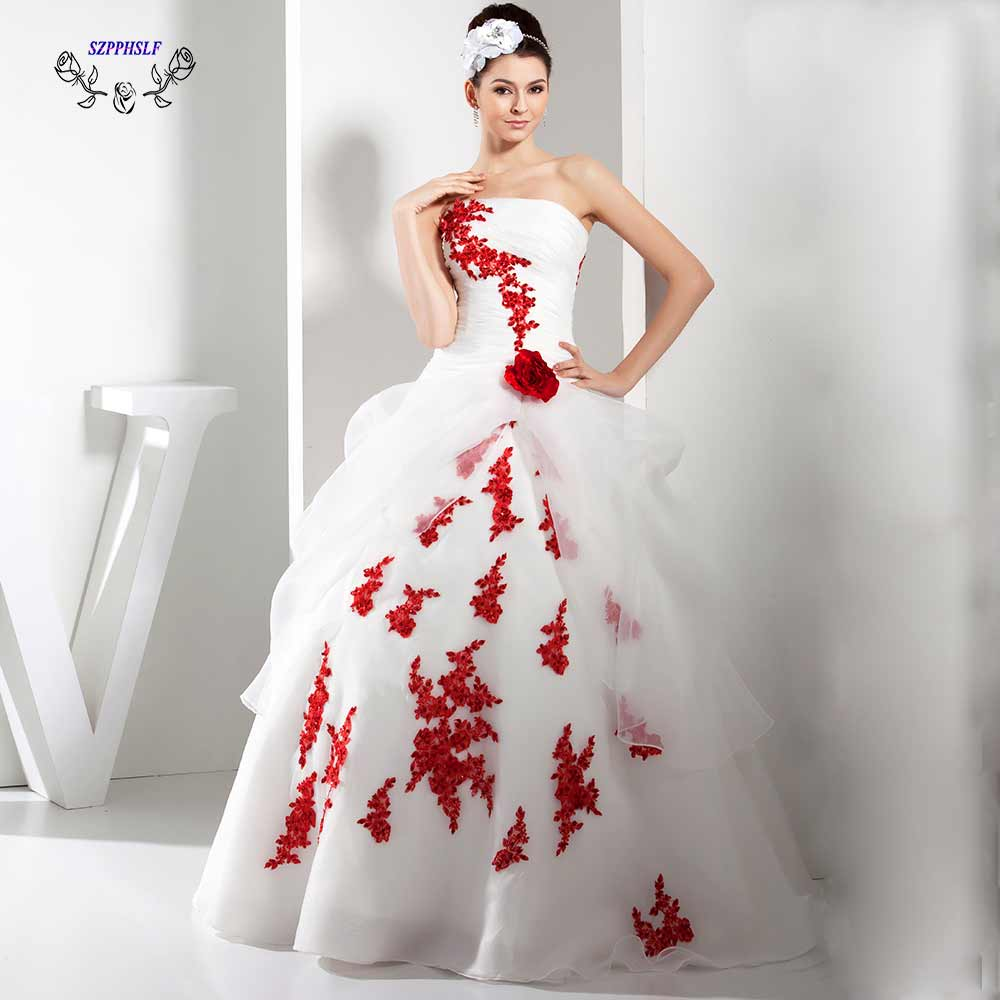 Red And White Wedding Dresses: Adorable Ball Gown White And Red Wedding Dress 2017