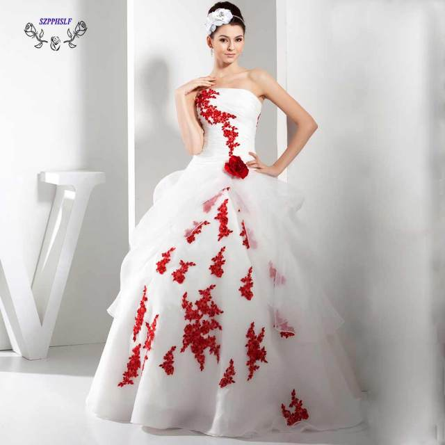 Adorable ball gown white and red Wedding Dress 2017 strapless ...