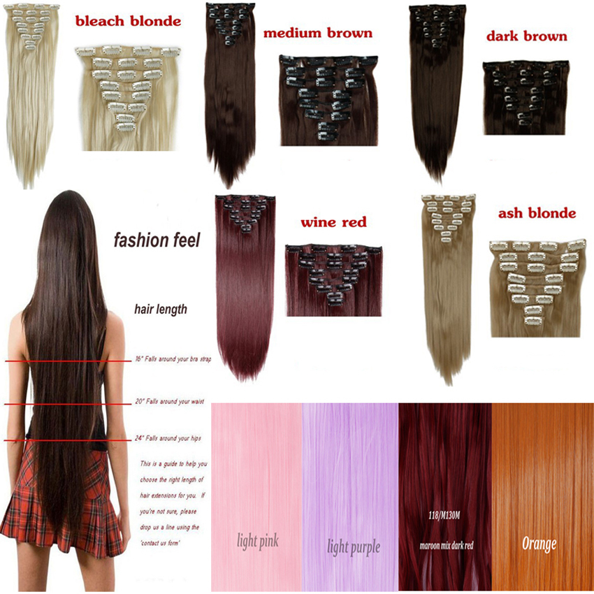 Aliexpress buy 2015 new fashion 8 pcs 23inch clip in hair aliexpress buy 2015 new fashion 8 pcs 23inch clip in hair extensions silky long straight hair dark black light brown dark red free shipping from pmusecretfo Choice Image