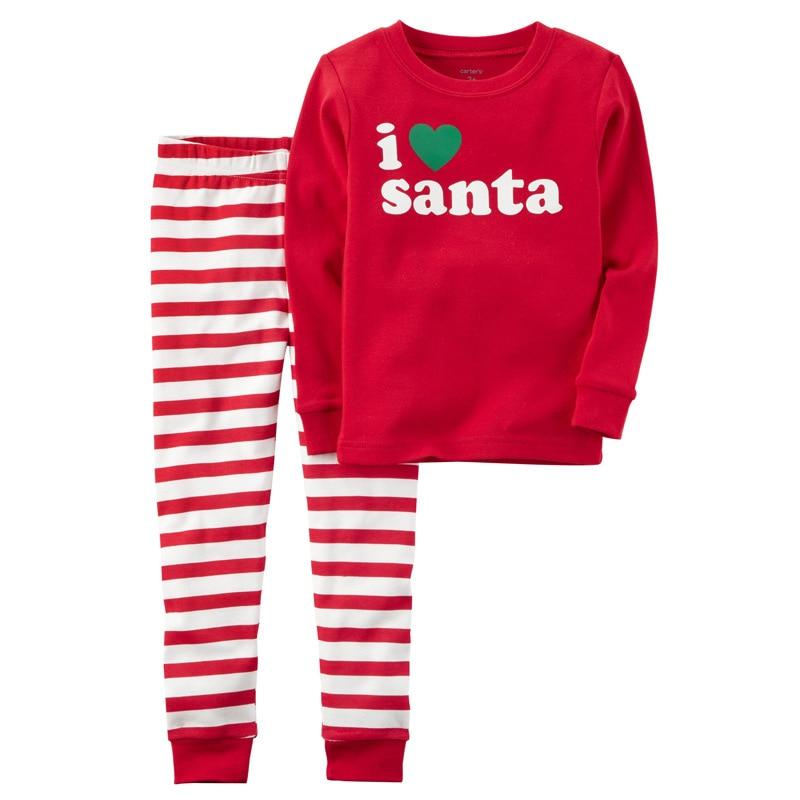 Conjunto de pijamas de natal 2018 outono inverno crianças conjunto de roupas camisa calça meninas pijama meninos roupas de santa crianças 2-7