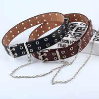 Femmes Punk chaîne mode ceinture réglable noir Double/simple oeillet oeillet cuir boucle ceinture