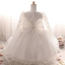 536a59f18 Manga larga blanco vestidos para niña bautismo niña ropa 1 año fiesta de cumpleaños  del bautizo