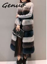 Genuo 2019 autumn and winter new  women fashion warm fur ladies long section color mosaic fake fox grass large size S~3XL