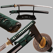 Full Tang Japanese Samurai Sword Katana Damascus Folded Steel Clay Tempered Blade Can Cut Tree Real Hamon Sharp Ready for Battle
