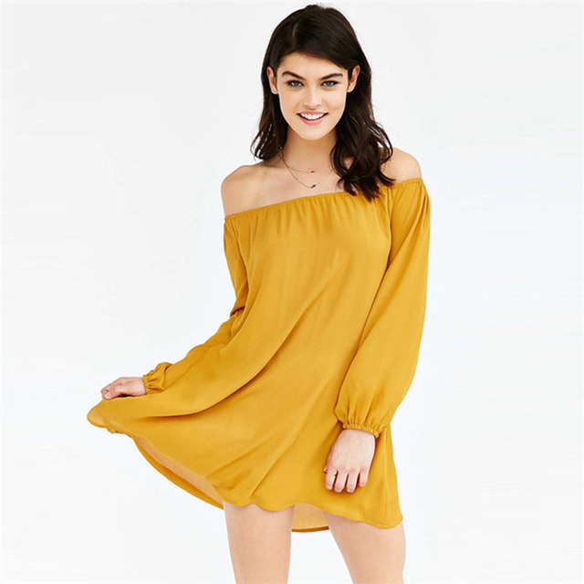 5a08c384b6cf Elegant Solid Color Women Off Shoulder Dress Big Hem Loose Type Slash Neck  Lady Sexy Mini Dress Summer Yellow Royal Blue Vestido