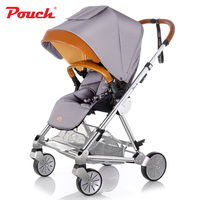Pouch P80 Kids Travel System High view Baby Stroller with Real Leather Handle Folding Baby Pram for the Infant Two directions