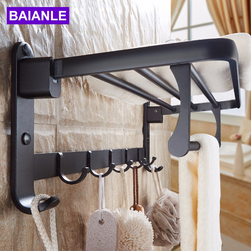 Black Space aluminum Wall Mounted Foldable Bathroom Towel Rack Holders Shower Towel Rack Shelf Bar with hooks black space aluminum wall mounted foldable bathroom towel rack holders shower towel rack shelf bar with hooks
