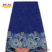 Topo 2020 mais recente swiss voile laço de algodão guarnição do laço alta qualidade azul nigeriano casamento tecido renda para os homens africano laço NA1716B 2