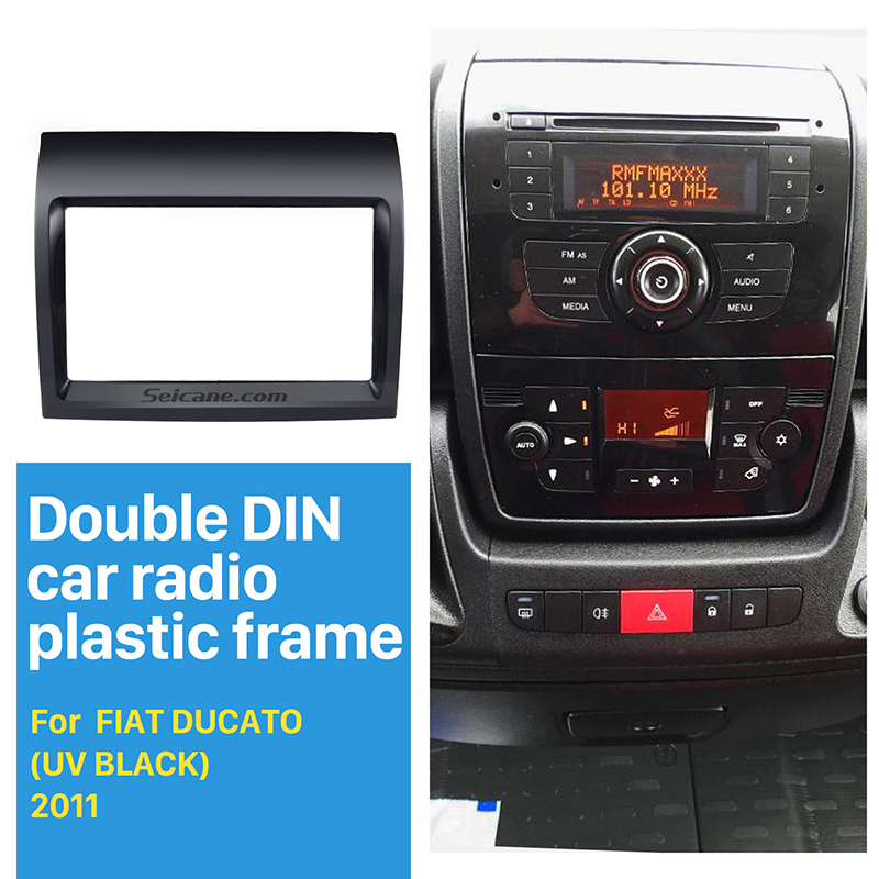 Seicane Best UV Black 2Din Car Radio Fascia for 2011 FIAT DUCATO Dash Mount Kit Adapter DVD Frame Frame Panel Car Fitting kit