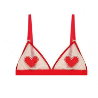Bralette Red Love Hearts Embroidered Triangle Cup Bra for Women Ultra thin Wear free Cute and Sweet Lingerie