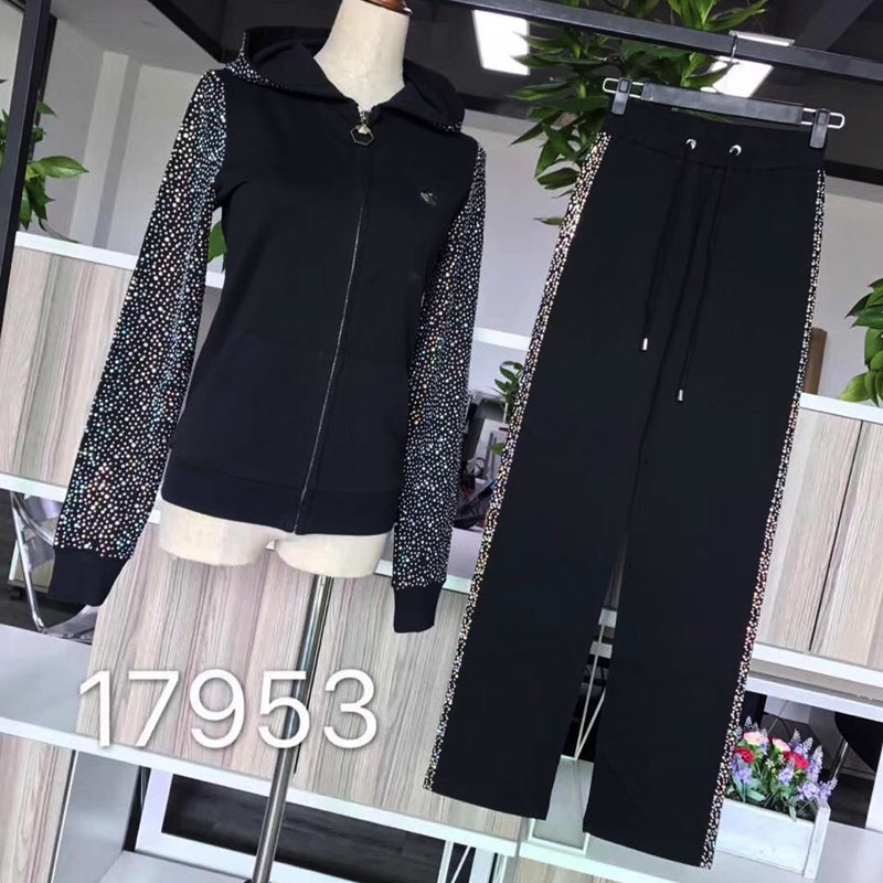 Women s new style cotton sleeves with diamond back and letters fashionable suit