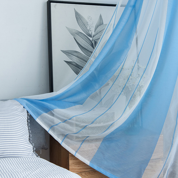 Modern Voile Tulle Curtains For The Bedroom Living Room Tulle Curtain Sheers Window Door Tulle Curtain Sheers White Blue Stripe