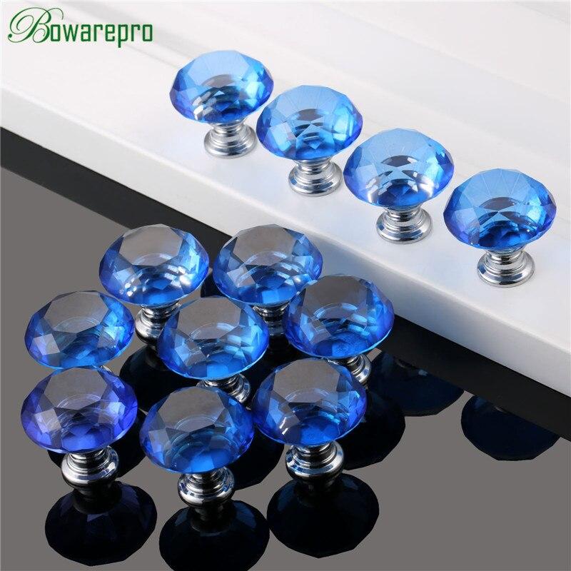 Bowarepro Diamant Kristall Glas knob küchenschrank zubehör hardware möbel griff zubehör 30mm 12 + 36 Stücke Schrauben Blau