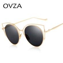 Ovza 2017 ультра-тонкий металлический Солнцезащитные очки Для женщин розовый покрытие линз женский Винтаж Защита от солнца Очки овальные очки S8028