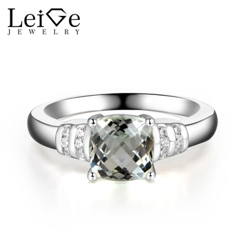 Leige Jewelry Natural Green Amethyst Ring Cushion Cut Engagement Promise Rings for Women Green Gemstone Fine Jewelry