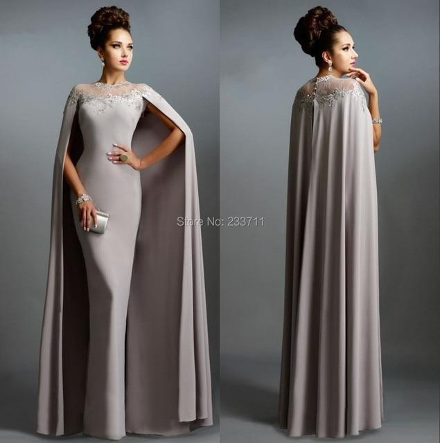 Elegant High Neck Straight Satin Lace Gray Muslim Evening Dresses Avondjurk Vestidos De Gala 2016 Zipper-Up Floor Length 5974