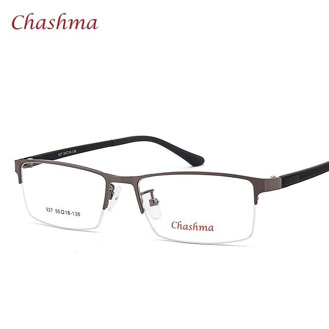 a25940a575e96 Chashma Senhores Marca Óculos Da Moda Olho Azul Macho Metade Aro Óculos  Ópticos Quadro Homens Óculos
