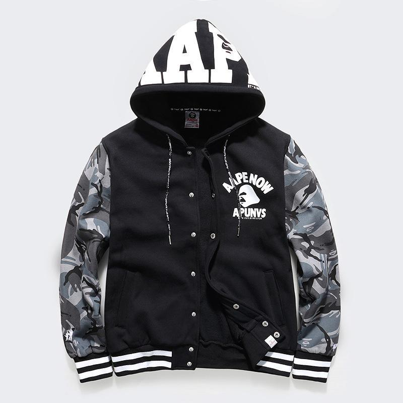 eminem hoodies mens bape sweatshirts shark winter Army Military men fleece hooded camouflage jacket - Ashin Chan store