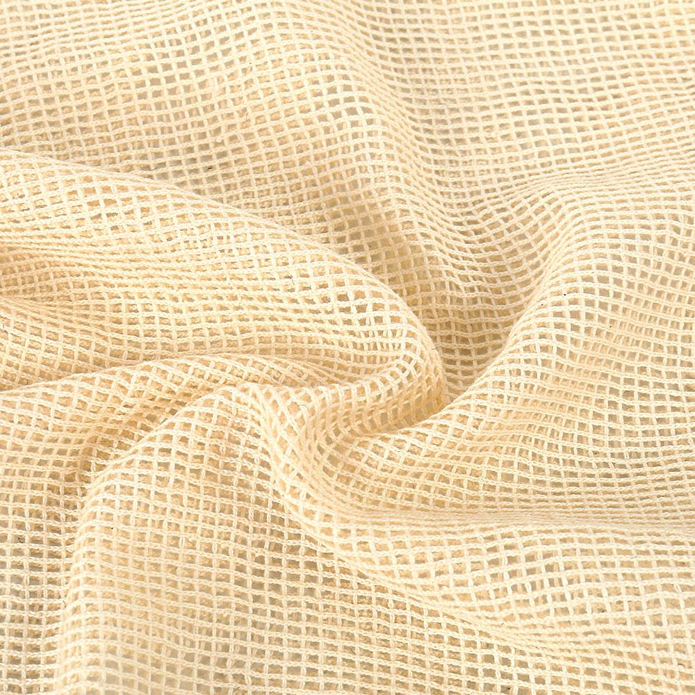 Bolsas de Malla 3 tamaños y de ALGODÓN ecológica sostenible re-utilizable reutilizable de varios tamaños y color beige 29