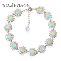 15 41g Zirconia Surround Blue Fire Opal 925 Sterling Silver Bracelet Generous For Women Jewelry OB057