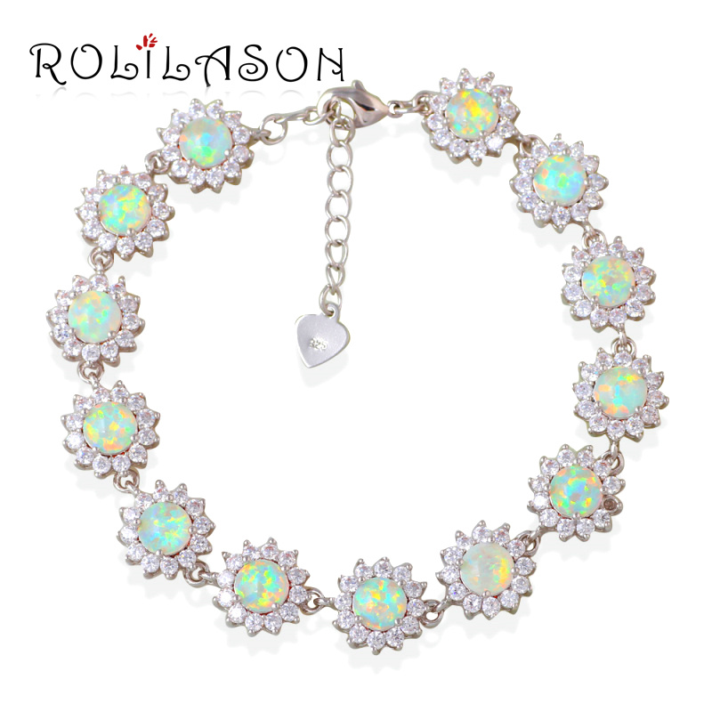 15.41g Zirconia surround White fire Opal Stamped stamped Silver Bracelet Generous For Women Jewelry OB057 gorgeous faux opal bracelet for women