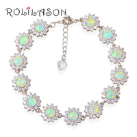 15 41g Zirconia Surround Blue Fire Opal 925 Sterling Silver Bracelet Generous For Women Jewelry OB057