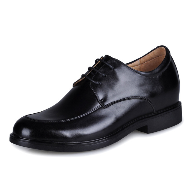 8786- Black  Men  Low  Heel Cow  Leather  Elevator  Shoes gain 2.5 inches taller about 6cm