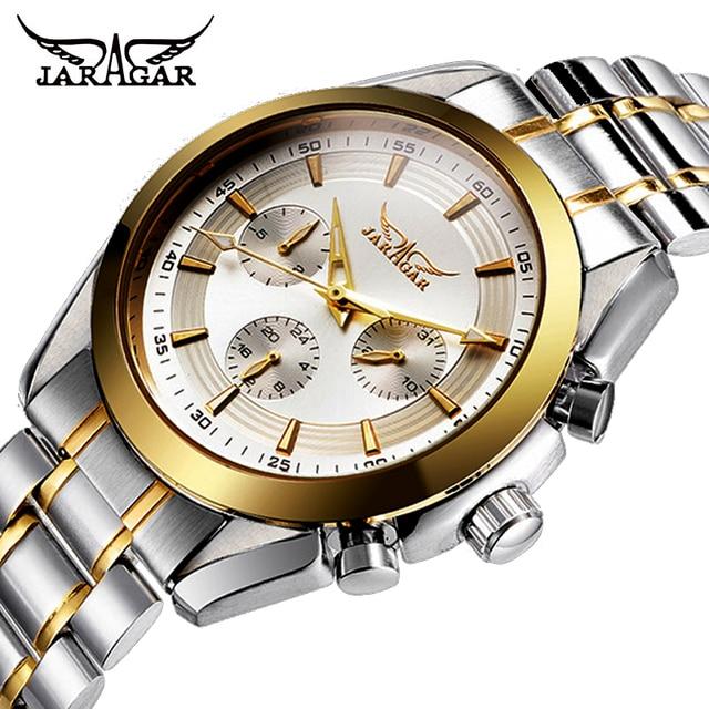 JARAGAR Mannen Automatische Mechanische Horloges Luxe Merk Kalender Casual Horloge Stalen Analoge Horloge Triple sub wijzerplaat Sporthorloge