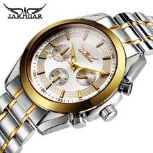 JARAGAR hommes montres mécaniques automatiques de luxe marque calendrier décontracté en acier montre bracelet analogique Triple sous cadran montre de sport