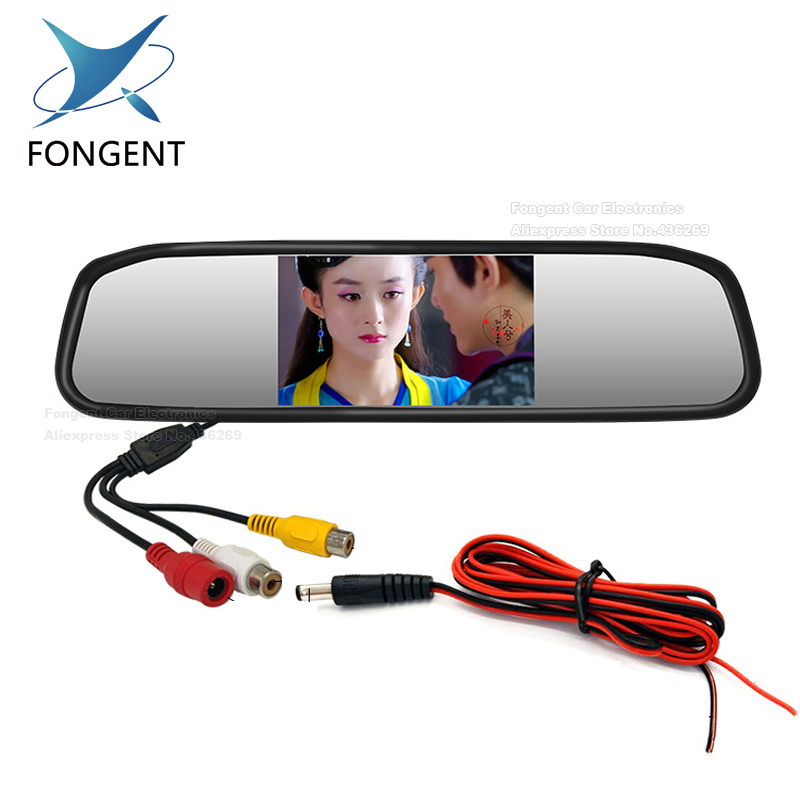Fongent Video Parking Assistance 4.3 inch Car Interior Mirror Monitor With CCD Rear View Camera Night Vision Glass Lens Camera