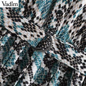 Image 4 - Vadim elegante vestido estampado de serpiente camisa patrón animal pajarita fajas cintura elástica plisada manga larga vestidos midi vestidos QB240