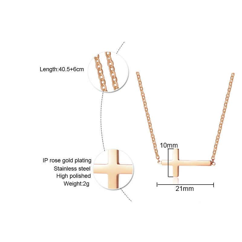 Vnox с боковым крестом колье ожерелье для женщин три цвета из нержавеющей стали простой маленький крест кулон для женщин Подарки для девочек