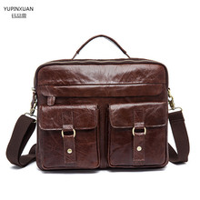 YUPINXUAN Leather vintage handmade crazy horse briefcase men genuine leather messenger bags business office bag Lawyer