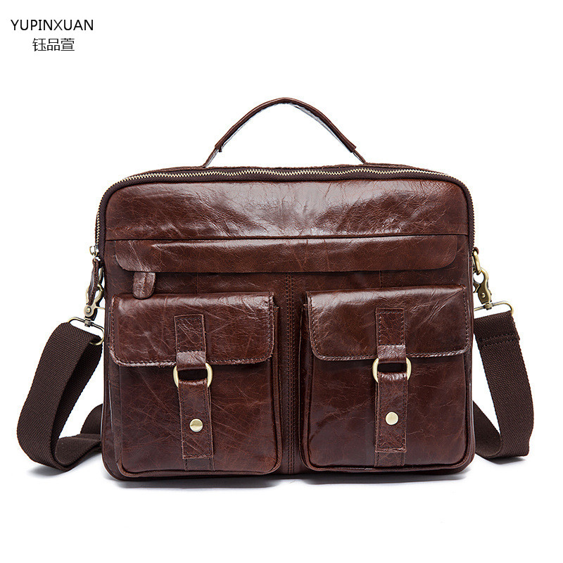 YUPINXUAN font b Leather b font vintage handmade crazy horse briefcase men genuine font b leather