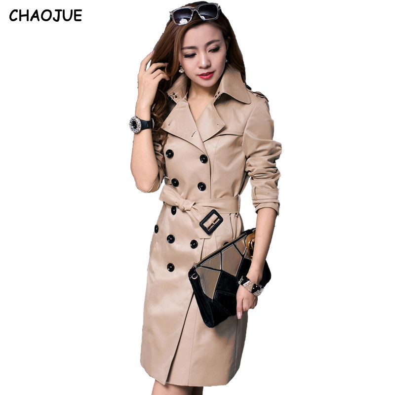 CHAOJUE Brand Europe Itay 2018 autumn female classic double breasted long trenchcoat England luxury women pea coat free shipping