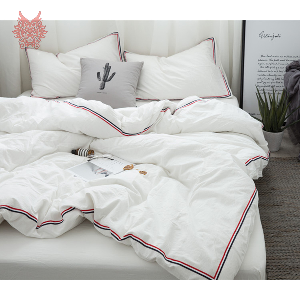 Japanese style 8 colors solid side striped bedding sets ...
