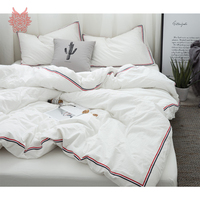 Japanese Style 8 Colors Solid Side Striped Bedding Sets Washed Cotton Duvet Cover Set Fitted Sheet