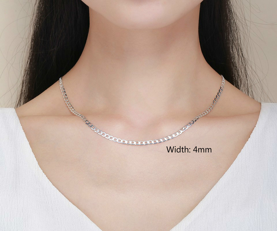 Image 5 - 45cm 80cm Ultra thin 925 Sterling Silver Curb Chain Link Necklaces Women Men Jewelry collares kolye Collier 4mm 7.5mm ketting-in Necklaces from Jewelry & Accessories