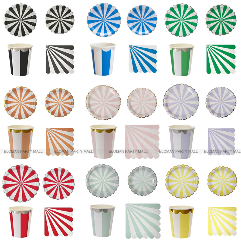 Rainbow Decorations Party Cups For Wedding ELOMAN Garden Tableware 24 Strip Sets Paper Guest Plates 32 16 Napkin Holiday Bithday
