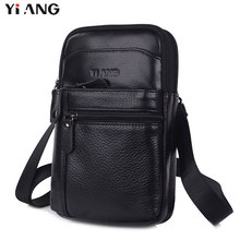 YIANG Cow Genuine Leather Messenger Bags Men Small Crossbody Shoulder Bag Travel Style Waist Belt Bags for Man Bolsa Masculina