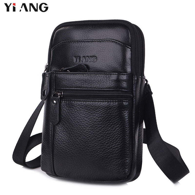YIANG Cow Genuine Leather Messenger <font><b>Bags</b></font> Men Small Crossbody Shoulder <font><b>Bag</b></font> Travel Style <font><b>Waist</b></font> Belt <font><b>Bags</b></font> for Man Bolsa Masculina