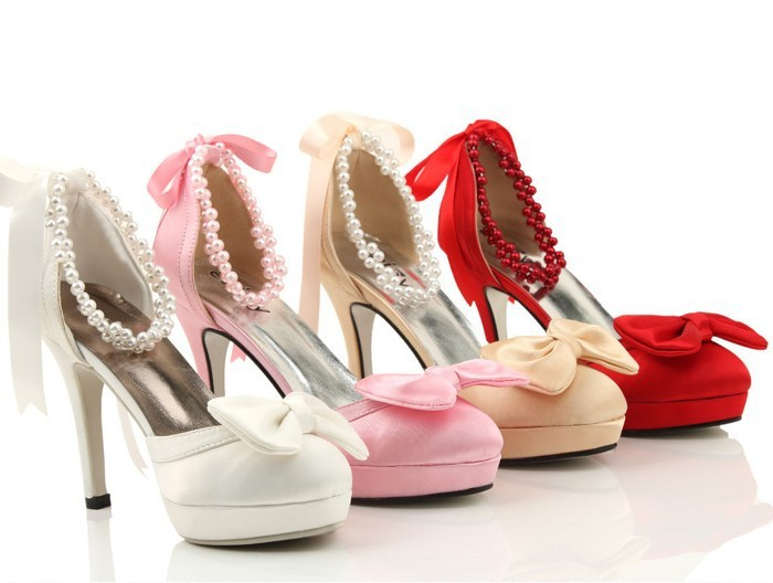 ФОТО 2016 Nicest Round Toe Satin Beaded 10cm High heel Wedding Shoes  DanceDress Shoes Imitation Pearl Bridal Dress Shoes Shoes women