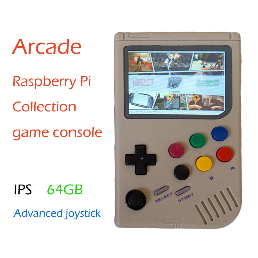 US $296 36 38% OFF|Raspberry Pi arcade gameboy handheld game console with  Super HD IPS LCD / Shock joystick / pi 3B 64G Transparent color -in Coin