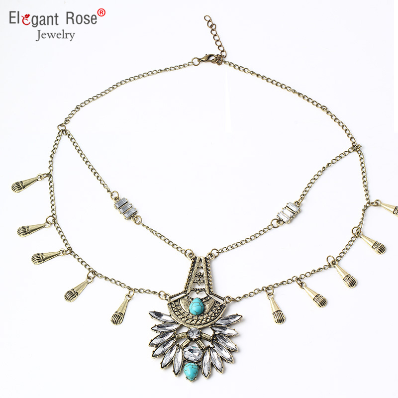 Vintage Boho Women Statement Necklace for Women Silver Plated Turquoise Ethnic Pendants for Girl Beach Jewelry N2914