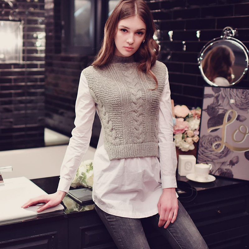 dabuwawa 2017 false 2 pieces female new long sleeved gray autumn and winter shirt font b