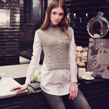 dabuwawa 2017 false 2 pieces female new long-sleeved gray autumn and winter shirt sweater women pink doll