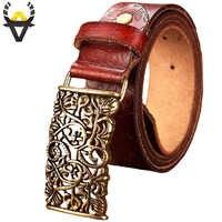 Fashion echtes leder gürtel für frauen Vintage floral Pin schnalle gürtel frau Qualität zweite schicht kuh haut weiblichen breiten 3,2